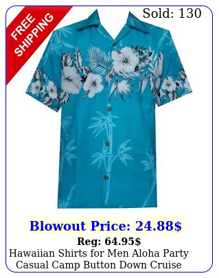 hawaiian shirts men aloha party casual camp button down cruise vacation tou