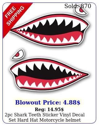 pc shark teeth sticker vinyl decal set hard hat motorcycle helmet toolbox ca