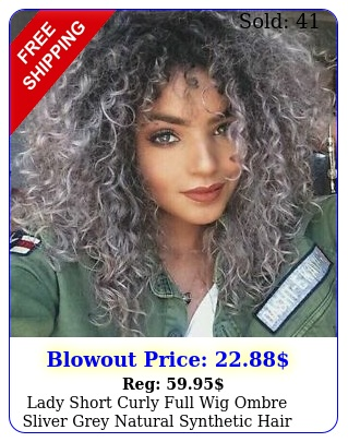lady short curly full wig ombre sliver grey natural synthetic hair party cospla