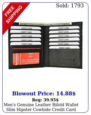 men's genuine leather bifold wallet slim hipster cowhide credit card rfi