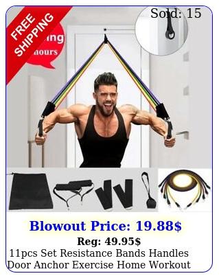 pcs set resistance bands handles door anchor exercise home workout tubes us