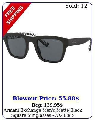 armani exchange men's matte black square sunglasses axs  brazi