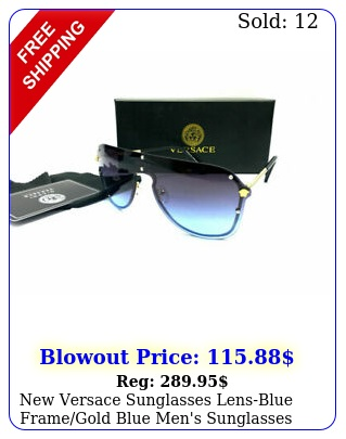 versace sunglasses lensblue framegold blue men's sunglasses m