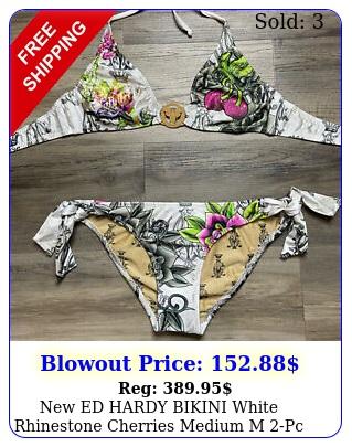 ed hardy bikini white rhinestone cherries medium m pc swimsuit yk vintag