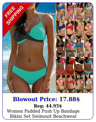 women padded push up bandage bikini set swimsuit beachwear swimwear bathing sui