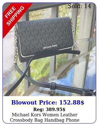 michael kors women leather crossbody bag handbag phone clutch shoulder black m