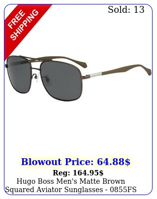 hugo boss men's matte brown squared aviator sunglasses fs yz i