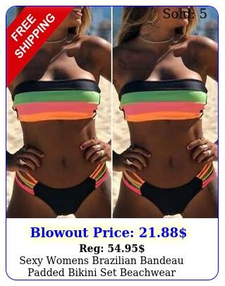 sexy womens brazilian bandeau padded bikini set beachwear swimwear bathing sui