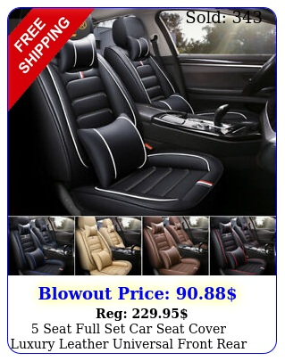 seat full set car seat cover luxury leather universal front rear back cushio