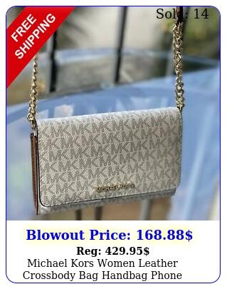 michael kors women leather crossbody bag handbag phone clutch shoulder vanill