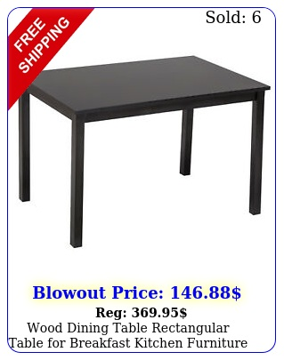 wood dining table rectangular table breakfast kitchen furniture blac
