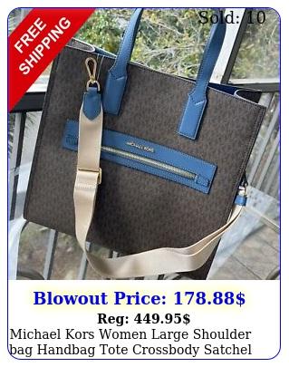 michael kors women large shoulder bag handbag tote crossbody satchel brown m