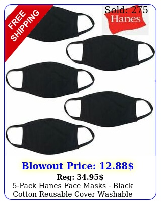 pack hanes face masks black cotton reusable cover washable cloth facemas