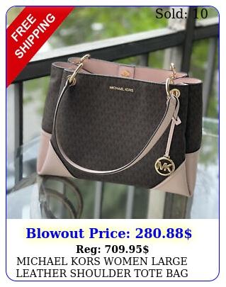michael kors women large leather shoulder tote bag handbag purse satchel brow