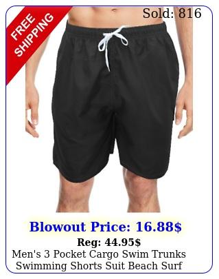men's pocket cargo swim trunks swimming shorts suit beach surf board wea