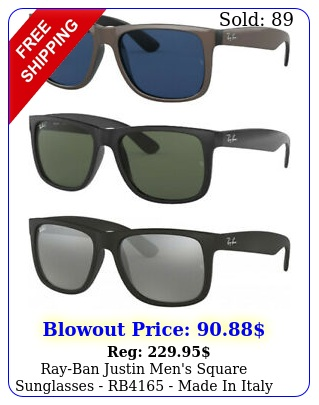 rayban justin men's square sunglasses rb made in ital