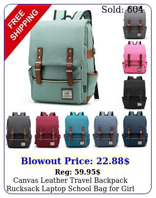 canvas leather travel backpack rucksack laptop school bag girl women me