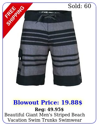 beautiful giant men's striped beach vacation swim trunks swimwear board short