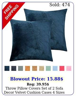 throw pillow covers set of sofa decor velvet cushion cases sizes color