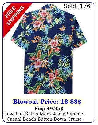hawaiian shirts mens aloha summer casual beach button down cruise holiday part