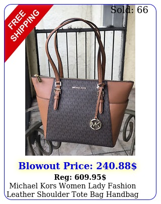 michael kors women lady fashion leather shoulder tote bag handbag purse brown m
