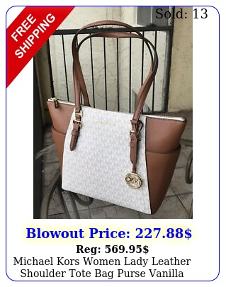 michael kors women lady leather shoulder tote bag purse vanilla brown handbag m