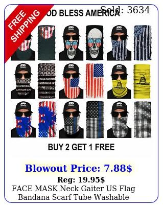 face mask neck gaiter us flag bandana scarf tube washable reusable cover shiel
