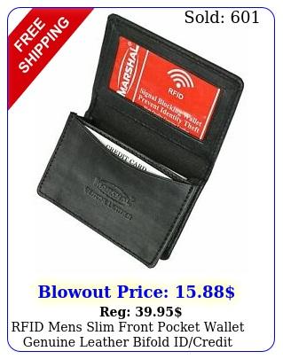 rfid mens slim front pocket wallet genuine leather bifold idcredit card holde