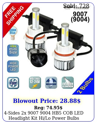 sides x  hb cob led headlight kit hilo power bulbs k icy whit