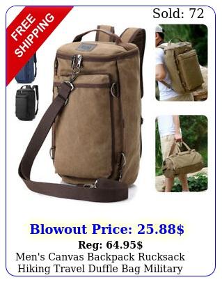 men's canvas backpack rucksack hiking travel duffle bag military handbag satche