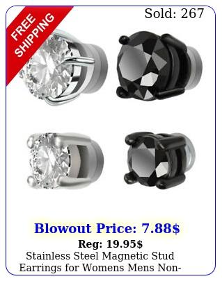 stainless steel magnetic stud earrings womens mens nonpiercing clip on us