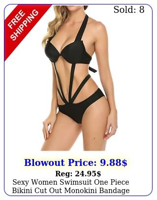 sexy women swimsuit one piece bikini cut out monokini bandage halter strappy l