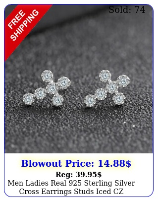 men ladies real sterling silver cross earrings studs iced cz christian gif