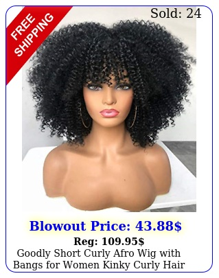 goodly short curly afro wig with bangs women kinky curly hair wig blac