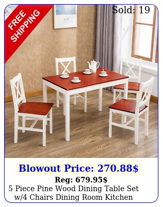 piece pine wood dining table set w chairs dining room kitchen furnitur