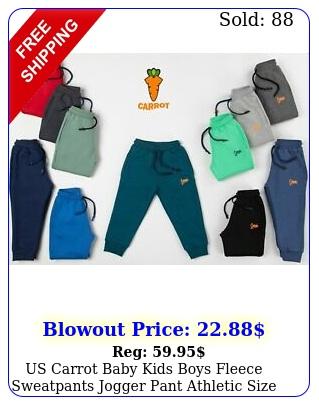 us carrot baby kids boys fleece sweatpants jogger pant athletic size t