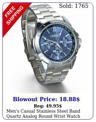 men's casual stainless steel band quartz analog round wrist watch valentine gif
