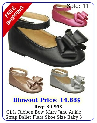 girls ribbon bow mary jane ankle strap ballet flats shoe size baby to kid