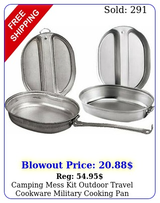 camping mess kit outdoor travel cookware military cooking pan cover metal pc
