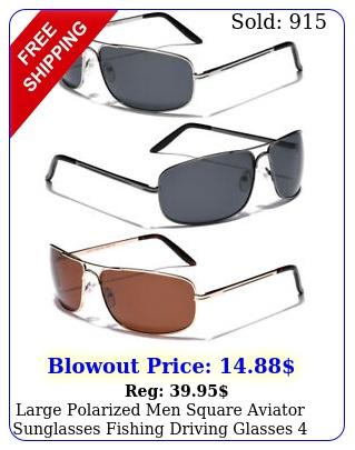 large polarized men square aviator sunglasses fishing driving glasses big hea