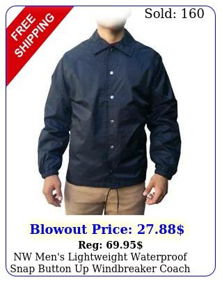 nw men's lightweight waterproof snap button up windbreaker coach jacket all siz
