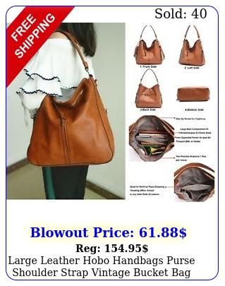 large leather hobo handbags purse shoulder strap vintage bucket bag brown wome