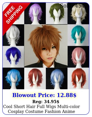 cool short hair full wigs multicolor cosplay costume fashion anime party hai