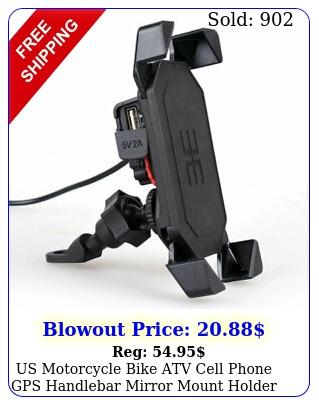 us motorcycle bike atv cell phone gps handlebar mirror mount holder usb charge