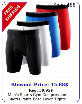 men's sports gym compression shorts pants base layer tights trousers bottom