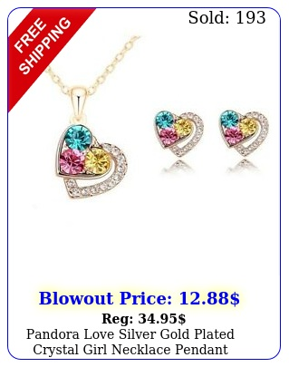 pandora love silver gold plated crystal girl necklace pendant earring set wome