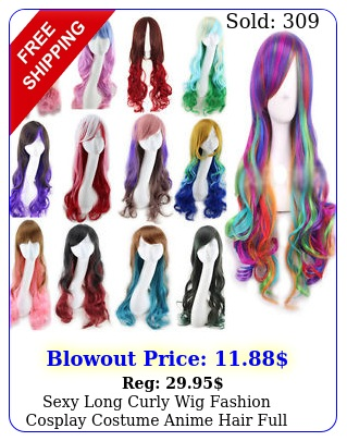 sexy long curly wig fashion cosplay costume anime hair full wavy multicolor wi
