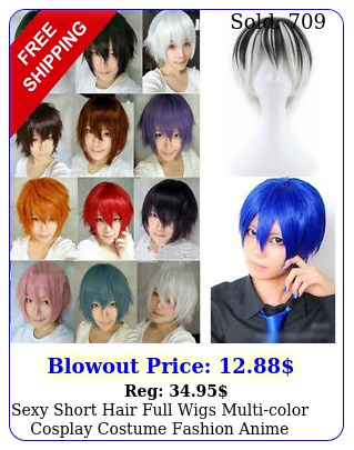 sexy short hair full wigs multicolor cosplay costume fashion anime party hai