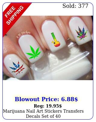 marijuana nail art stickers transfers decals set o