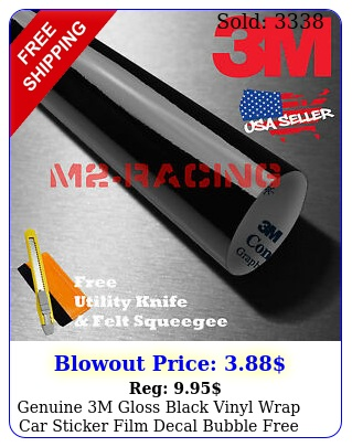 genuine m gloss black vinyl wrap car sticker film decal bubble fre
